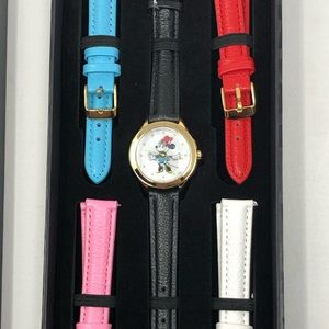 Disney Minnie Mouse Watch Set w/5 Leather Bands